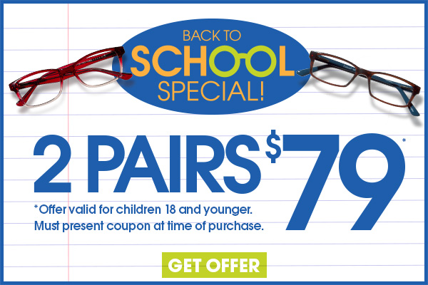 2 for $79 includes polycarbonate lenses and frames up to $39.95