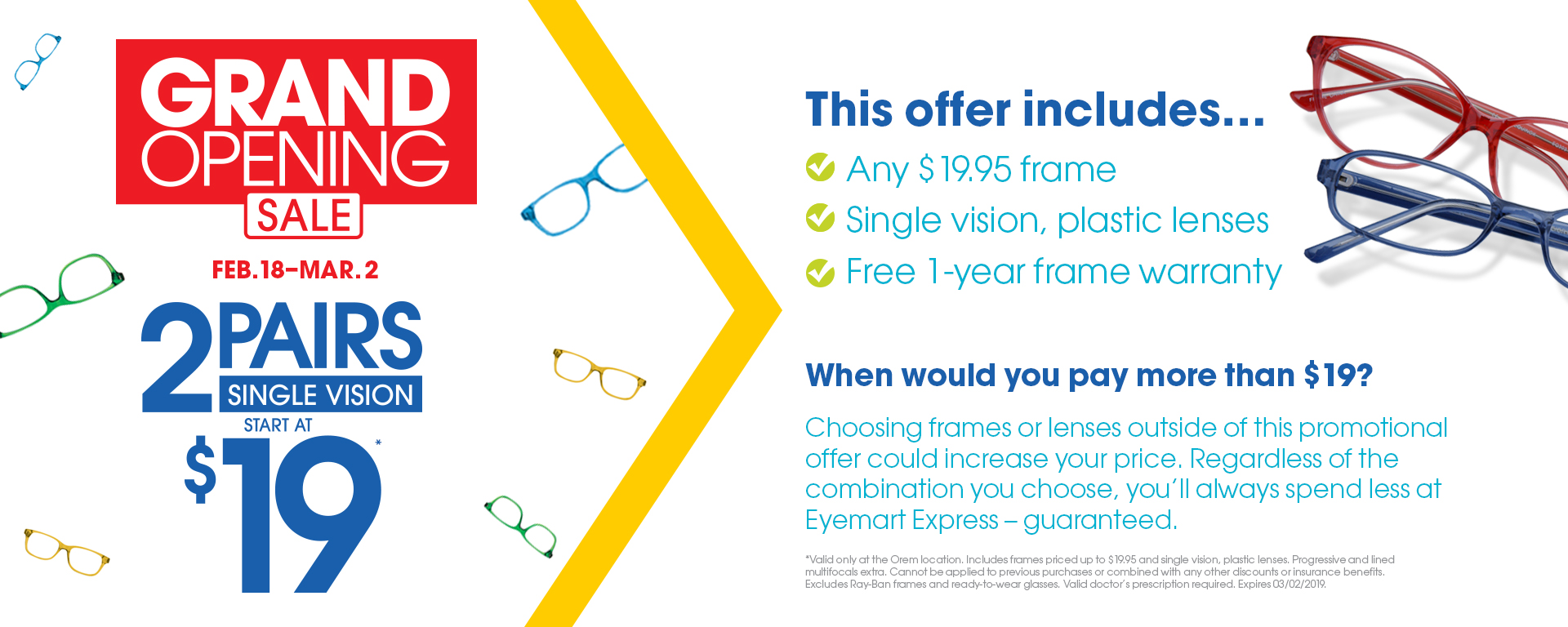 79fc4ae960d Eyemart Express - Valid in-store only. Includes frames priced up to  19.95  and single vision