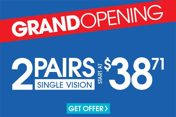 Valid in-store only. Includes $19.95 frames and single vision, plastic lenses. Progressive and lined bifocals extra. Cannot be applied to previous purchases. Valid doctor's prescription required.