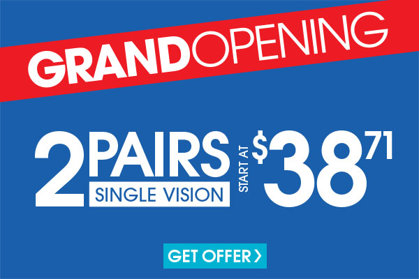 Valid in-store only. Includes frames priced up to $19.95 and single vision, plastic lenses. Progressive and lined multifocals extra. For frames and upgrades exceeding the value of the promotion, customer responsible for the difference. Cannot be applied to previous purchases or combined with any other discounts or insurance benefits. Excludes Ray-Ban frames and ready-to-wear glasses. Valid doctor's prescription required.