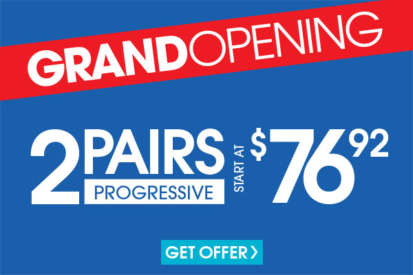 Valid in-store only. Includes frames priced up to $19.95 and progressive vision, plastic lenses. Lined multifocals extra. For frames and upgrades exceeding the value of the promotion, customer responsible for the difference. Cannot be applied to previous purchases or combined with any other discounts or insurance benefits. Excludes Ray-Ban frames and ready-to-wear glasses. Valid doctor's prescription required.