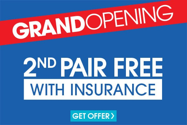 Valid in-store only. Not all insurance plans will qualify. Includes $19.95 frames and single vision, plastic lenses. Progressive and lined bifocals extra. Void where prohibited. Cannot be applied to previous purchases or combined with any other discounts or offers. Valid doctor's prescription required.
