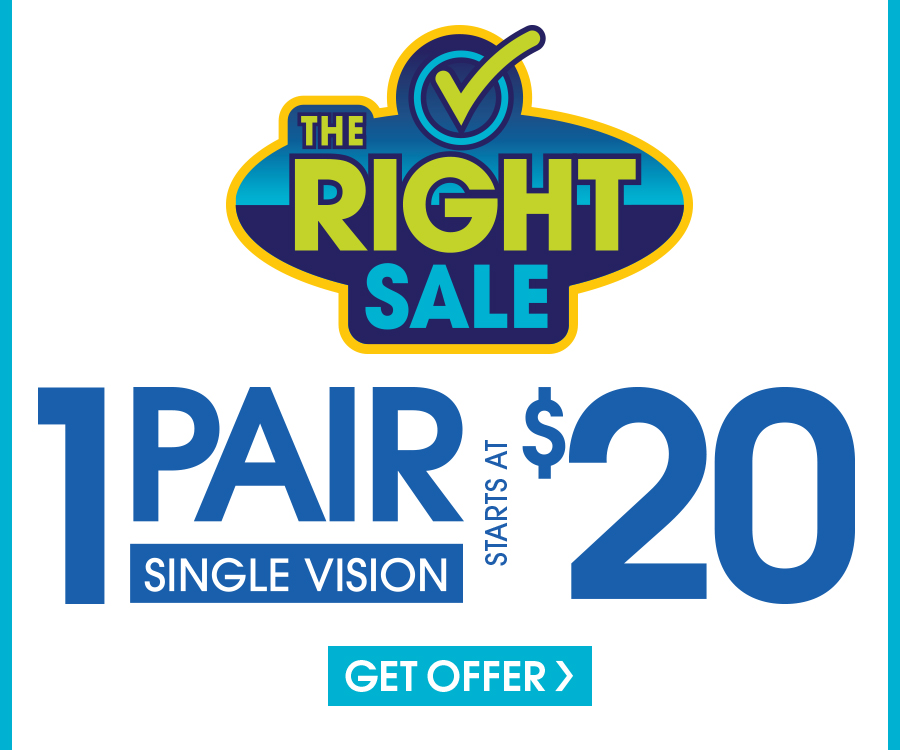 Valid in-store only. Includes frames priced up to $19.95 and single vision, plastic lenses. Progressive and lined multifocals extra. Cannot be applied to previous purchases or combined with any other discounts or insurance benefits. Excludes Ray-Ban frames and ready-to-wear glasses. Valid doctor's prescription required. Expires <date>.